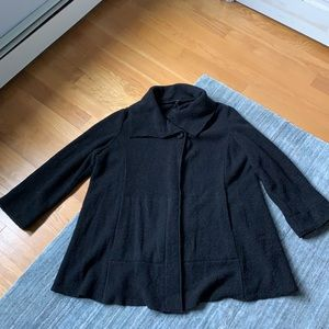 Eileen Fisher Black Wool Blend Swing Coat Sweater
